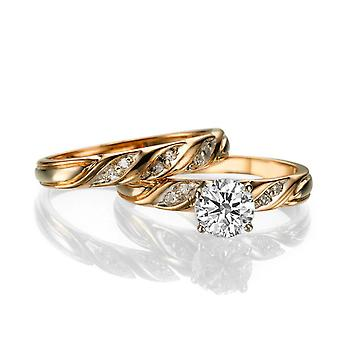 2,00 CTW 8.00MM Moissanite evigt en forlovelsesring med diamanter 14K Rose Gold