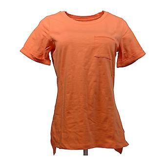 C. Wonder Women's Top Essentials Crew Neck Slub Knit Tee Orange A275109