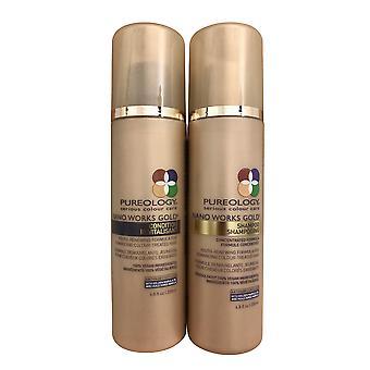 Pureology Nano Works Gold Shampoo & Conditioner Beschadigde Kleur Teated Hair Set 6.8 OZ elk
