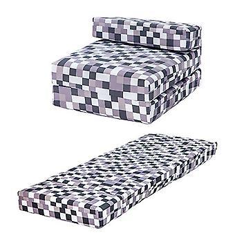 Pixels cinza Design Espuma Única Dobrar Z Cama Cadeira Cama Colchão Sleepover