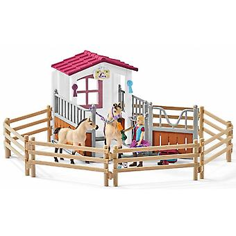 Schleich Horse Stall with Horses and Groom