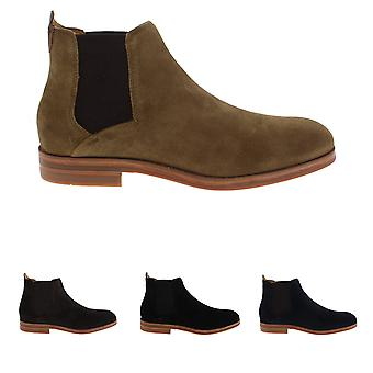 Mens H By Hudson Tonti Suede Dealer Smart Casual Chelsea Ankle Boots