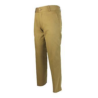 デザイナーのスリム フィット男子軽中茶色のチノ パンツ