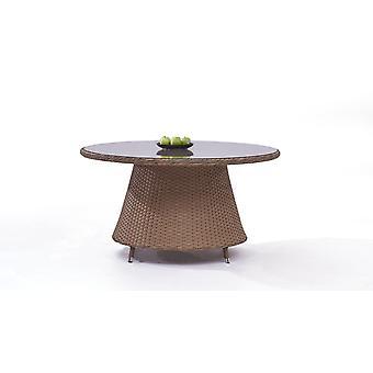 Polyrattan Table à manger classique 140 cm, ronde - caramel