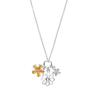 Jewelco Londen dames rhodium plated sterling zilver gele pear Cubic Zirconia Daisy Flower Charm Necklace 16 + 2 inch