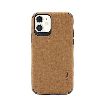 For iPhone 11 Case Fabric Texture Denim Slim Fashionable Protective Cover Brown