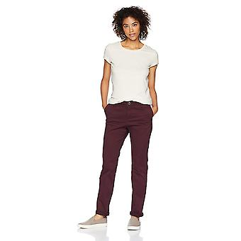 Essentials Women&s Straight-Fit Stretch Twill Chino Pant, Bourgogne, 6 Vanliga