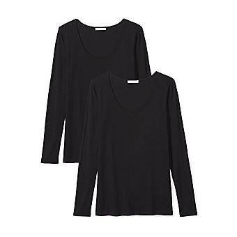 Brand - Daily Ritual Women's Jersey Long-Sleeve Scoop Neck T-Shirt, Black/Black, Medium