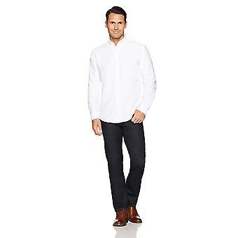 Essentials Men's Regular-Fit Long-Sleeve Solid Oxford Shirt, Blanc, Petit