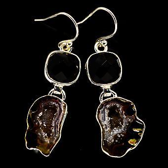"""Coconut Geode Druzy, Black Onyx Earrings 1 3/4"""" (925 Sterling Silver)  - Handmade Boho Vintage Jewelry EARR404541"""