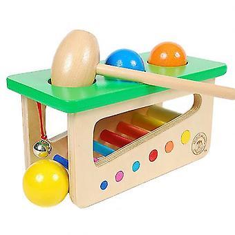 Martillo de golpe de madera, bola rodante Jingle Bell juguete de desarrollo musical de los niños