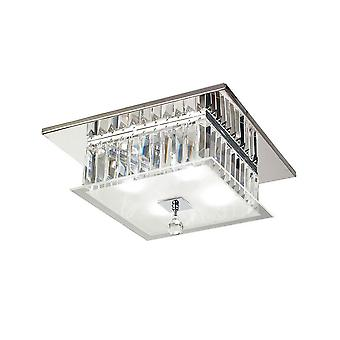 Flush Ceiling Square 4 Light Polished Chrome, Verre, Cristal