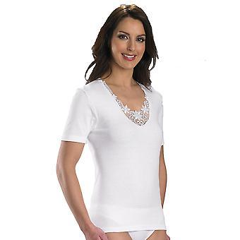 Slenderella コットン ホワイト刺繍半袖キャミ トップ V13