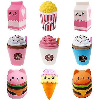 Cute Popcorn, Cake, Hamburger, Squishy, Unicorn Milk, Slow Rising Squeeze Toy