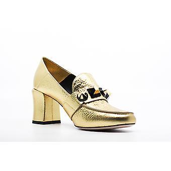 Fendi | Studded Metallic Mid Heels Loafer Pumps