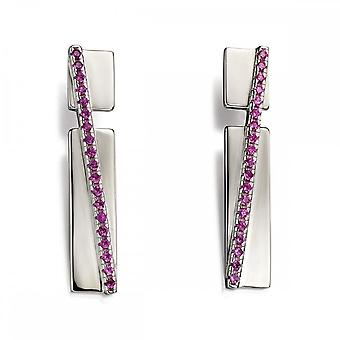 Fiorelli Silver Revised Pave Band In Silver & Pink Zirconia Earrings E5545P