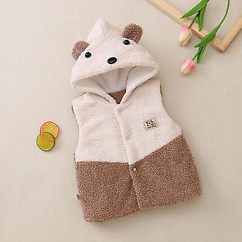 Autumn, Winter, Fur Hooded Vest Warm Waistcoat