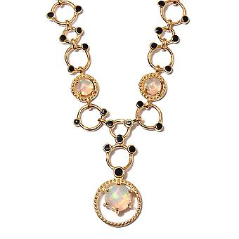 GP-AA Ethiopian Welo Opal Enamelled Necklace Size 18 in 14ct Gold Plated Silver