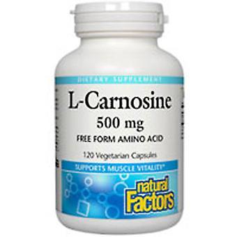 العوامل الطبيعية L-Carnosine, 500 ملغ, 120 قبعات الخضار