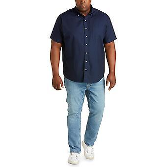 Essentials Men's Short-Sleeve Pocket Oxford Shirt, Navy, 5XL