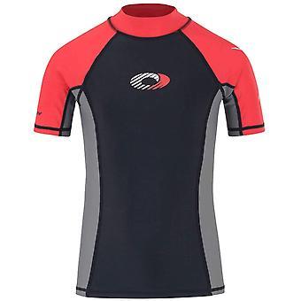 Visarend kinderen korte mouwen Rash Vest Top Zwart / Rood UPF 50 + Maat S