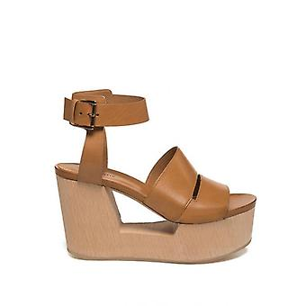 Vic Matie Leather Sandal With Wooden Pierced Wedge