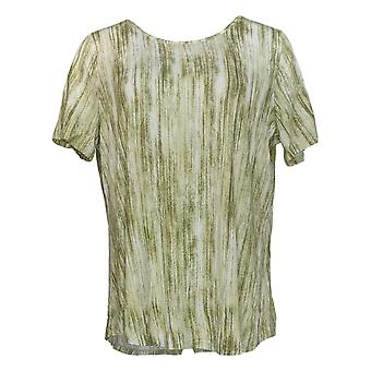 Lisa Rinna Collection Women's Top Printed Knit W/Back Detail Green A291099
