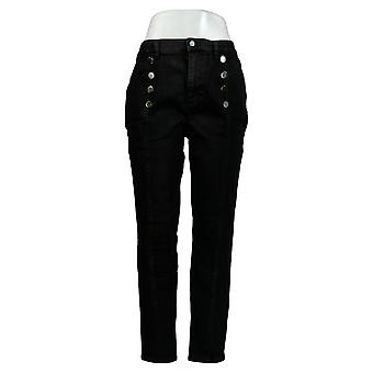 G by Giuliana Women's Jeans Skinny Ankle Length With Buttons Black 677-788