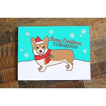 """Hauska joulukortti - """"hyvää joulua, Corgeous"""""""