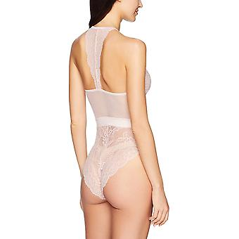 Marque - Mae Women's Strappy Halter Lace Bodysuit, Soft Pink, Large
