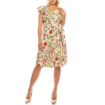 Floral Printed Ruffled Faux Wrap Dress
