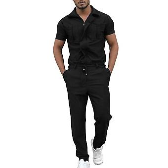 Men's Short-sleeved Jumpsuit With Zipper Opening And Closing Casual Personality One-piece Pocket Overalls