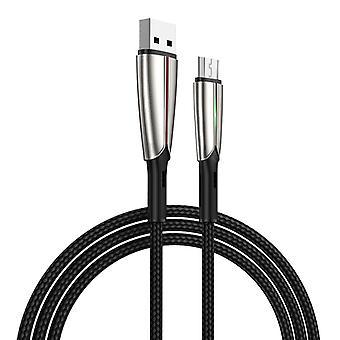 JOYROOM S-M399 Time Series 3A Micro USB Interface Lataus + Voimansiirto Nailon punottu datakaapeli vihreällä markiisi, kaapelin pituus: 1,5m (musta)