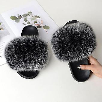 Vrouwen Zomer Casual Fur Slippers Flat Non-slip Solid Real Fox Hair Slides