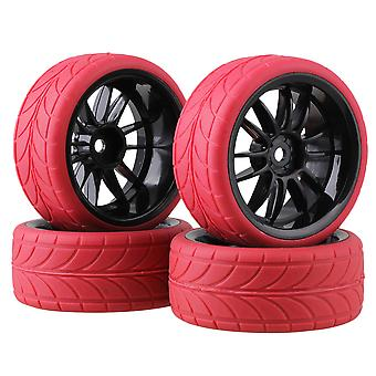 4pcs svart 12spoke hjulfelg rød pil mønster gummidekk for RC1:10on veien bil