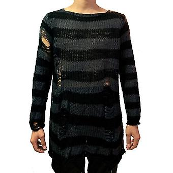 Punk Gothic Cool Striped Long Sweater Men Stretch Thin Pullover Broken Sweaters