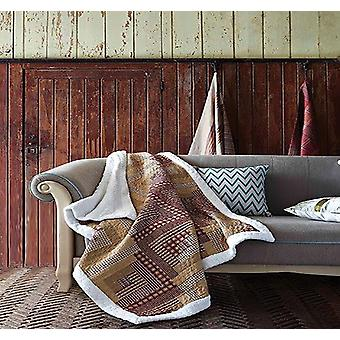Spura Home Montana Cabin: Red/Tan Patchwork Quilted Sherpa Throw