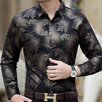 Social langærmet Maple Leaf shirts, Mænd Slim Fit, Man Dress Jersey Tøj