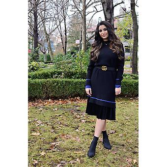 Sweater Dress (black/royal Blue)