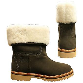 Timberland Chamonix Valley Shearling Womens Slip On Boots Olive A1SAM Z23B