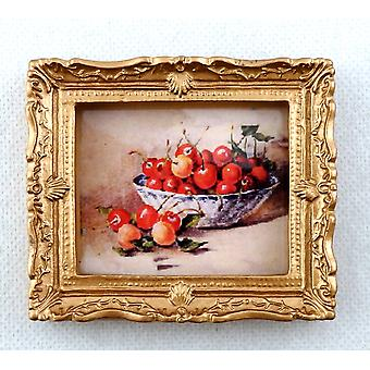 Dolls House Miniature Bowl Of Cherries Picture Painting Gold Frame