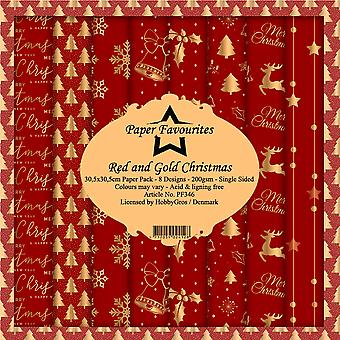 Paper Favourites Red and Gold Christmas 12x12 Inch Paper Pack