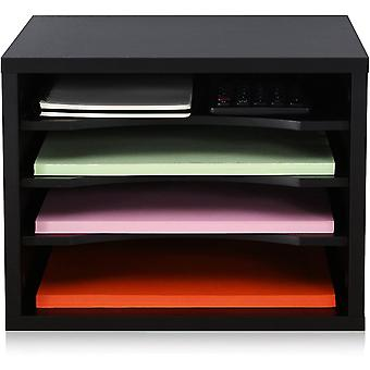 FITUEYES Desk Organiser Wood Black with 4 Layer Office Supplies Printer Stand 35.5x25x27.5cm
