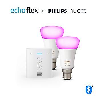 Echo flex + philips sävy valkoinen & väri tunnelma smart bulb twin pack led (b22) | bluetooth & siksake