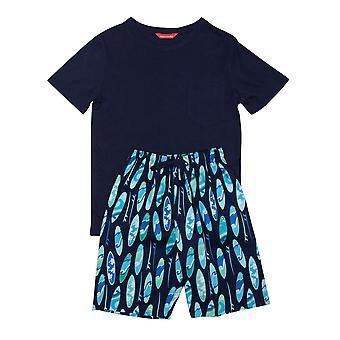 Minijammies Elliot 6539 Boy's Navy Blue Surfboard Cotton Pyjama Set