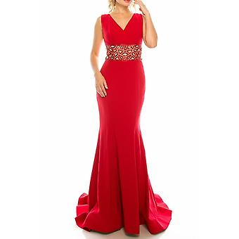 Crepe Trumpet Gown With Decorated Mesh Waist