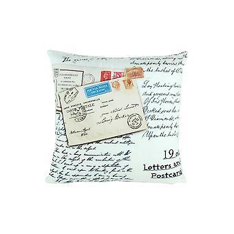 Oreiller décoratif de tissu avec des impressions de carte postale, blanc