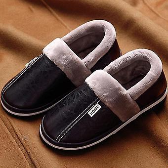 Men Shoes House Slippers Leather Fashion Memory Foam Winter Non-slip Male