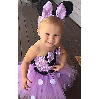 Adorável vestido de desenho animado Tutu, Bebê Mickey Minnie Crochet Tulle com dots bow