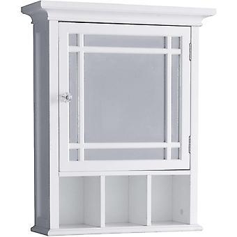 Elegant Home Fashions Bathroom Neal Wooden Medicine Cabinet Mirrored Door White 7442, Engineered